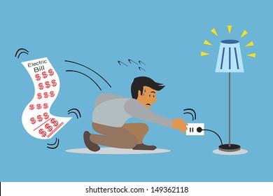 Businessman unplug, vector