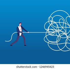 Businessman unraveling tangled rope. Difficult problem, chaos and mess vector business concept