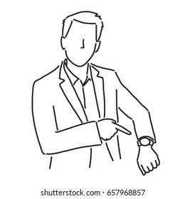 Businessman is upset because someone late and pointing to his watch- line drawing vector illustration graphic design
