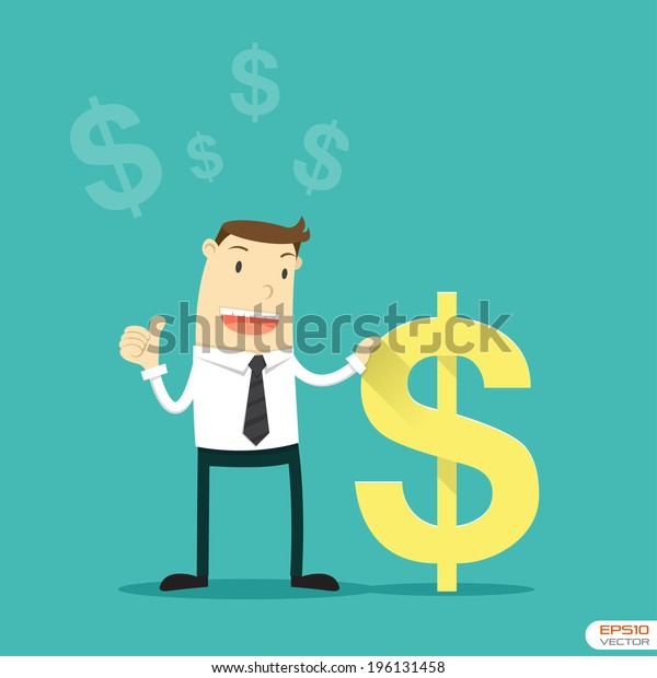 Businessman with US Dollar sign. Vector illustration