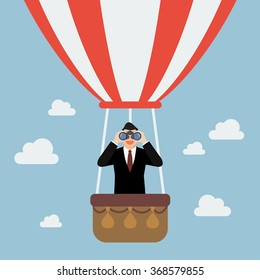 Businessman use binoculars looking for business on hot air balloon. Business vision concept