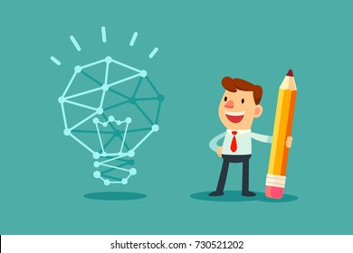 Businessman use pencil to connect the dots and create the idea bulb. Business idea concept.
