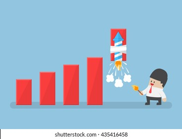 Businessman use rocket fireworks to increase profit graph, solution, business success concept