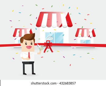businessman use scissors cut red ribbon grand opening franchise business