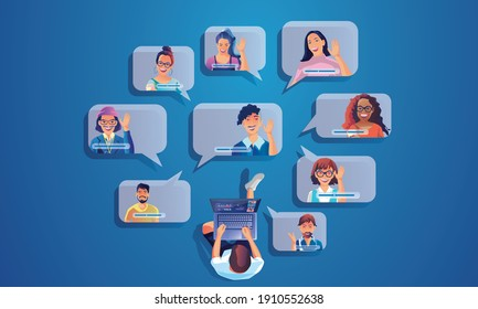 Businessman use Video conference landing Working People on window screen taking with colleagues. Videoconferencing and online meeting , man and woman online learning Vector illustration, Flat design