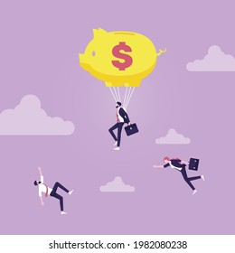 Businessman used piggy bank like a parachute for Soft Landing  and another people falling, Saving Money and Investment