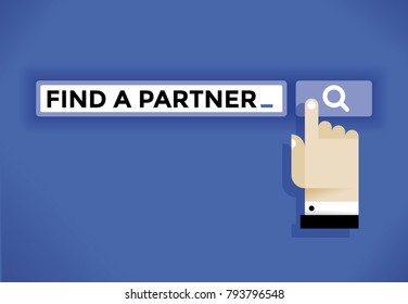 Businessman user hand cursor icon finding a partner in internet. Idea - Business negotiations, online relationships and communications, social networking (Facebook etc.) in modern business etc.