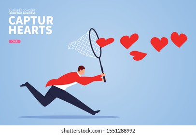 Businessman uses butterfly net to catch heart shaped flying in the air