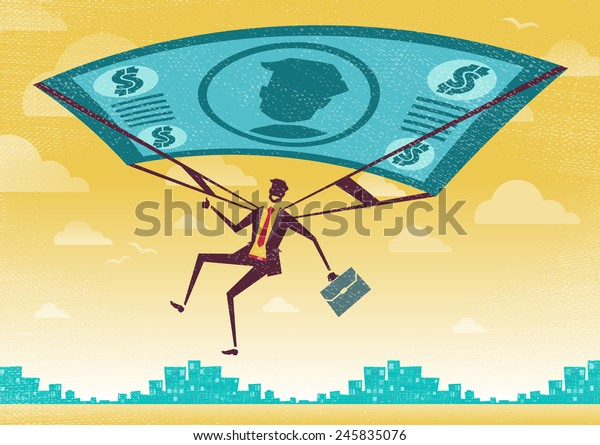 Businessman uses his Financial Dollar Bill Parachute. Great illustration of Retro styled Businessman who's remembered to pack his Dollar Bill Parachute and land to safety in the business landscape.