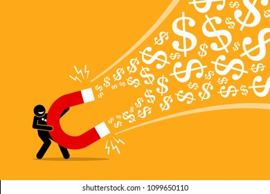 Businessman using a big magnet to attract money. Vector artwork illustration depicts the concept of making money, successful business idea, financial success, gain, and profit.