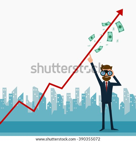 Businessman Using Binoculars Looking Growth Chart Stock Vector