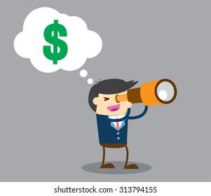 businessman using binoculars ,vector, Cartoon businessman looking for success, opportunities, future business trends through a telescope, flat illustration,dollar money, man, business concept. design.