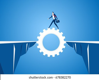 Businessman using cog gear to cross through the gap between hill.  Business risk and success concept. Cartoon Vector Illustration.
