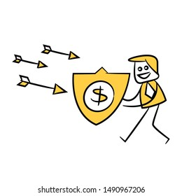 businessman using dollar shield to protect arrows, yellow stick figure