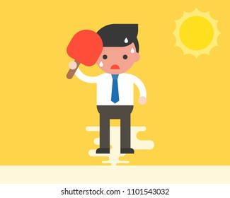 Businessman using handheld fan because very hot weather under sunlight, summer theme, flat design