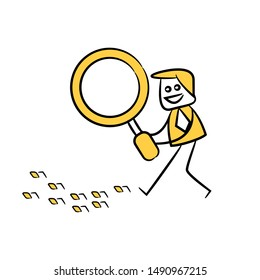 businessman using magnifier, tracking binary numbers, yellow stick figure