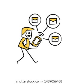 businessman using mobile phone sending and sharing email yellow stick figure design