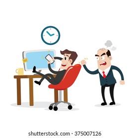 Businessman using mobile phone at work