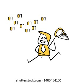 businessman using net spoon to catching data, binary number icon yellow stick figure