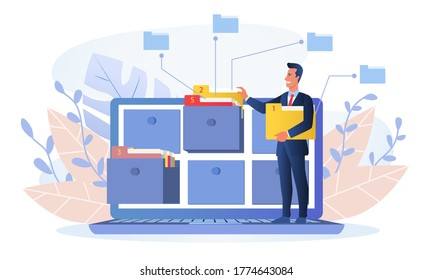Businessman using an online database for market or business research or inputting information, colored vector illustration