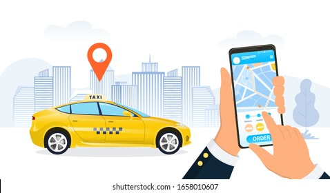 Businessman using a ride hailing app to order a taxi cab in a city street with a close up on his hands and mobile phone as a yellow cab pulls up under a location marker, vector illustration