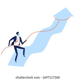 Businessman Using Rope to Pull Arrow to Change Direction, Leadership, Challenge, Competition Concept Vector Illustration