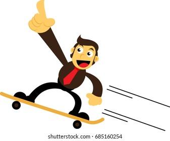 Businessman Using Skateboard