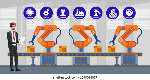 Businessman using tablet to control automation robot arm machine in smart factory industrial. Industry 4.0 infographics. Vector illustration