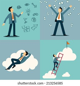 Businessman in various character, with idea and vision sketching icons, money and wealthy concept, lying happiness on cloud, and climbing on ladder to be success. Simply design.
