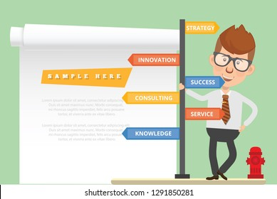 Businessman vector concept and blank paper