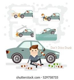 businessman very drunk. car accident from driving while intoxicated