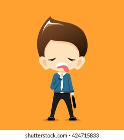 Businessman very hot on orange background-Vector Illustration
