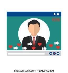 Businessman in video live streaming on internet online network. Vector illustration. Vector illustration influencer social media ads digital marketing concept.