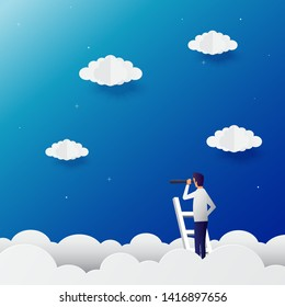 Businessman vision vector concept with businessman standing on top of ladder above clouds. Symbol of new opportunities, career ladder, visionary, success, promotion. Eps10 vector illustration