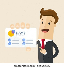 Businessman with visiting card in his hand. Man in business suit holds card with company logo name. Mock up, template. Vector, illustration, flat