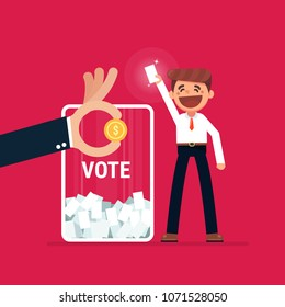 Businessman vote at ballot box. Vector illustration, buy vote