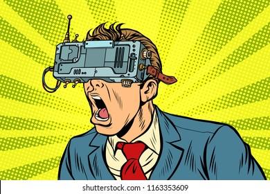 Businessman in VR glasses screaming. Pop art retro vector illustration vintage kitsch