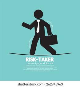 Businessman Walk On A Line Rask-Taker Concept