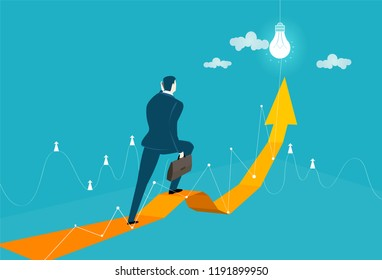 Businessman walking along the arrow, pointing to the success.  Innovation, progress and advisory concept illustration.