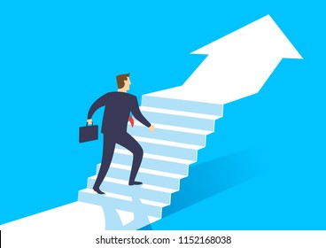 Businessman walking up arrow stairway growing to development, Business concept growth and the path to success, Flat design vector illustration