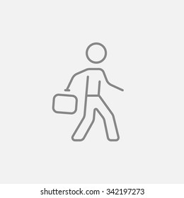 Businessman walking with briefcase line icon for web, mobile and infographics. Vector dark grey icon isolated on light grey background.