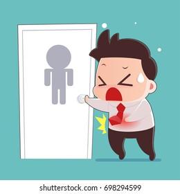 Businessman Walking Into a Public Bathroom, Man Cartoon With Diarrhea Problem Concept, Idea Concept With Icon Design, Vector Illustration 10 EPS.