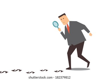 Businessman walking with magnifying glass, looking for money track on the ground.
