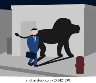 Businessman walking at night and has a lion shadow