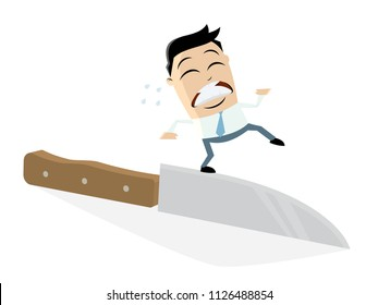 businessman walking on the edge of a knife