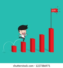 Businessman walking on growing graph. Flat Vector Illustration
