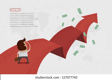 Businessman walking on the red arrow street to success , eps10 vector format