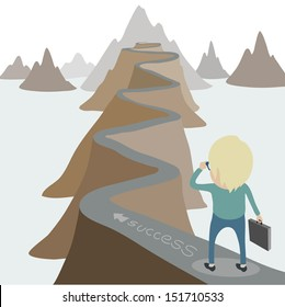 Businessman walking on the road daunting street to success , eps10 vector