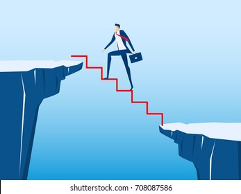 Businessman walking on stair to cross through the gap between hill. Stair step to success. Business risk and success concept. Cartoon Vector Illustration.