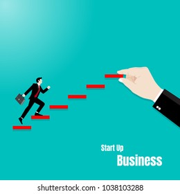 Businessman walking up on staircase to success, Business idea to career success, Concept business illustration vector flat